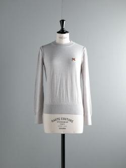 MAISON KITSUNE | MERINOS R-NECK PULLOVER Light Gray Melange ウールクルーネックニットの商品画像