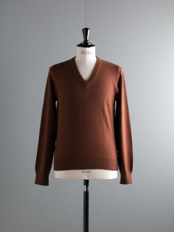 MAISON MARGIELA | V-NECK WOOL SWEATER WITH ELBOW PATCHES Brown エルボーパッチウールVネックニットの商品画像