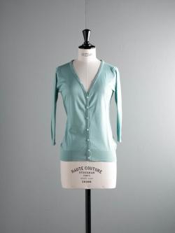 JOHN SMEDLEY | MAIDA Terrill Green コットン7分袖Vネックカーディガンの商品画像