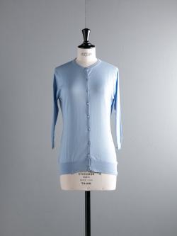 JOHN SMEDLEY | ISMAY Hayward Blue コットン7分袖丸首カーディガンの商品画像