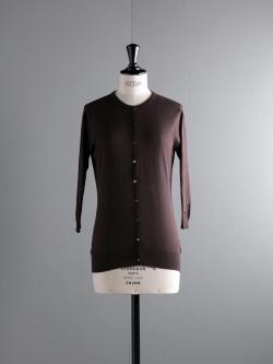 JOHN SMEDLEY | ISMAY Dark Leather コットン7分袖丸首カーディガンの商品画像