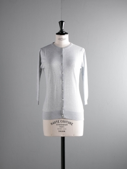 JOHN SMEDLEY | ISMAY Feather Grey コットン7分袖丸首カーディガンの商品画像