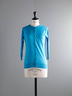 JOHN SMEDLEY | ISMAY Sebastian Blue コットン7分袖丸首カーディガンの商品画像