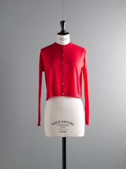 JOHN SMEDLEY | BOWES Bevin Red コットンクルーネックカーディガンの商品画像