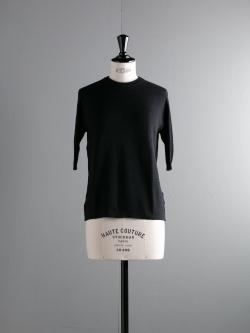 JOHN SMEDLEY | BECKETT Black コットン半袖クルーネックボーダー編みニットの商品画像