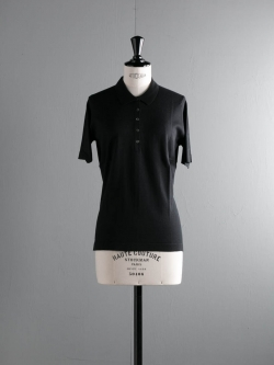 JOHN SMEDLEY | LANSEL Black コットン半袖ポロニットの商品画像