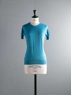 JOHN SMEDLEY | DANIELLA Skyline Blue コットン半袖クルーネックニットの商品画像