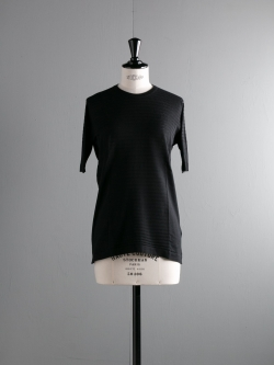 JOHN SMEDLEY | FAULKNER Black コットン半袖クルーネック透かし編みニットの商品画像