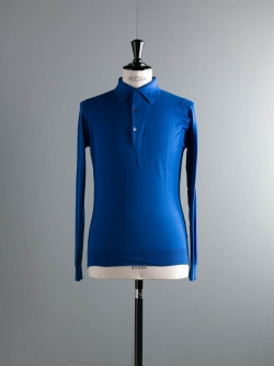 JOHN SMEDLEY | BRADWELL Coniston Blue コットン長袖ニットポロシャツの商品画像
