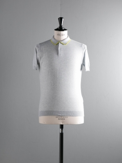 JOHN SMEDLEY | KLERK Feather Grey/Zaha Green コットン半袖トリムカラーポロシャツの商品画像