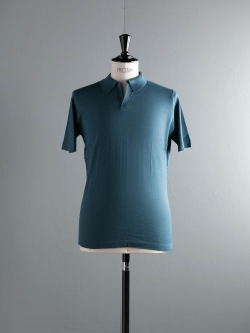 JOHN SMEDLEY | OUTRAM Brando Blue コットン半袖スキッパーポロシャツの商品画像