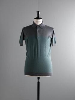 JOHN SMEDLEY | VIKING Charcoal/Dean Green コットン半袖ボーダーポロシャツの商品画像