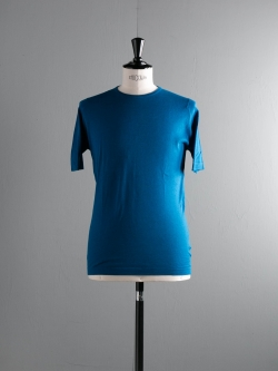 JOHN SMEDLEY | BASIL Stevens Blue コットン半袖クルーネックニットの商品画像