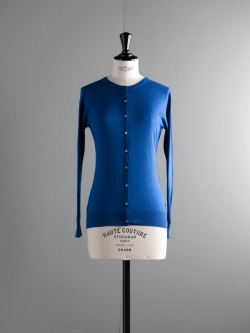 JOHN SMEDLEY | ISLINGTON Coniston Blue コットン丸首カーディガンの商品画像