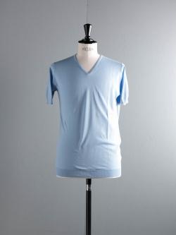 JOHN SMEDLEY | BRAEDON Hayward Blue コットン半袖Vネックニットの商品画像