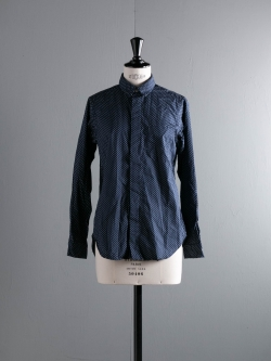 FWK by ENGINEERED GARMENTS | SHORT COLLAR SHIRT – MINI POLKA DOT LAWN Dk. Navy ショートカラーシャツ
