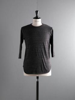 FilMelange | DAVY Black Melange 吊り編み七分袖ベースボールTシャツの商品画像
