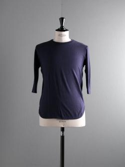 FilMelange | DAVY Navy Melange 吊り編み七分袖ベースボールTシャツの商品画像