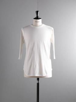 FilMelange | DAVY Ozone White 吊り編み七分袖ベースボールTシャツ