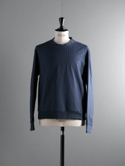 FRANK LEDER | NAVY STRIPED COTTON SWEAT TOP Navy Long Stripe コットンテキスタイルプルオーバー