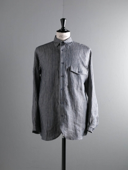 FRANK LEDER | STRIPED LINEN SHIRT WITH DETACHABLE BUTTON Ice Blue デタッチャブルボタンシャツの商品画像