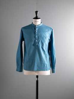 KIDUR | BAND COLLAR PULL OVER Pastel Bleu リネンコットンバンドカラープルオーバーシャツの商品画像