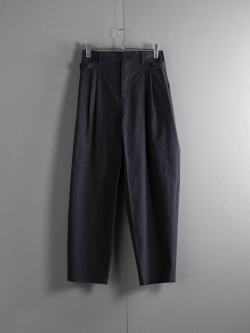 FRANK LEDER | BRUSHED COTTON TROUSER WITH SIDE CLOSURES Navy サイドアジャスターパンツ