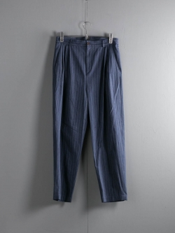 FRANK LEDER | NAVY STRIPED COTTON WIDE TROUSER Navy Long Stripe コットンワイドトラウザー