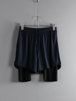 ABOUT | CRYPTIC8 DOUBLE LAYER SHORTS Midnight Navy/Solid Black レーヨンレイヤードショーツの商品画像