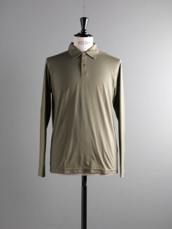 SUNSPEL | COTTON LONG SLEEVE POLO SHIRT Khaki Green 長袖ポロシャツの商品画像