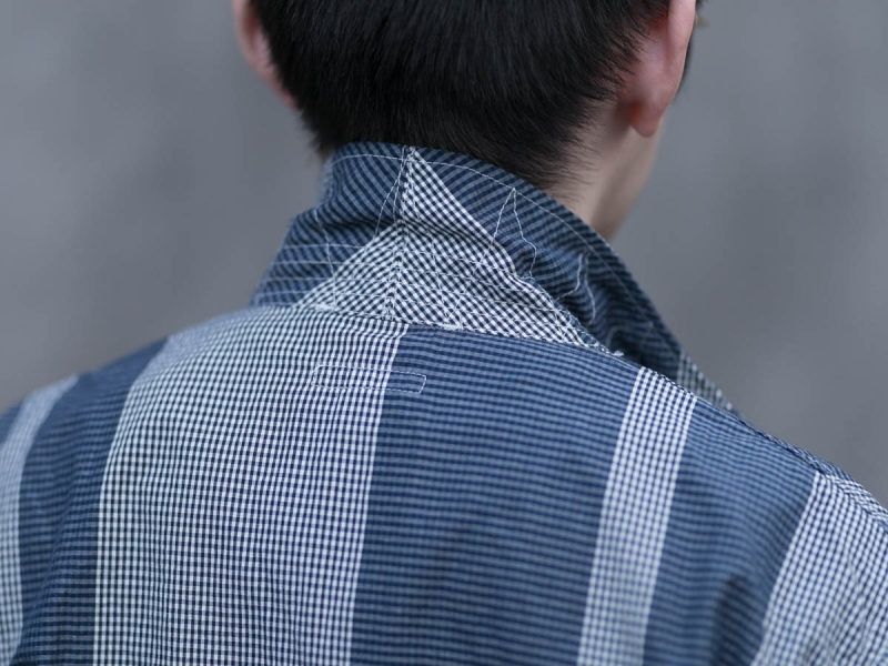 エンジニアードガーメンツのLoiter Jacketの襟裏ステッチ