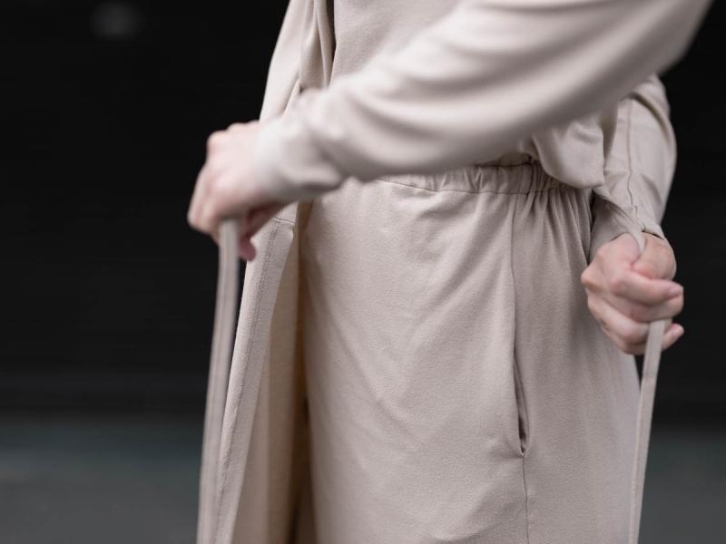 AboutのFine1 Cardigan/Dressのサンドベージュのカシュクール
