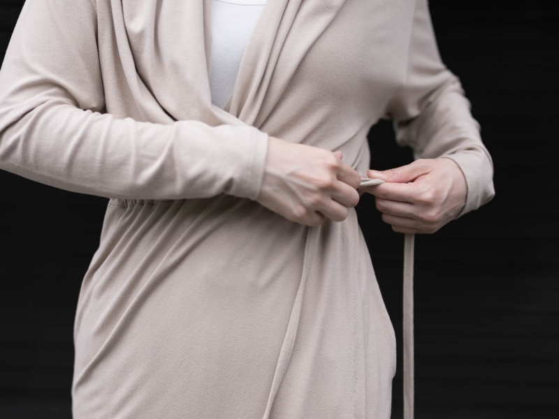 Aboutのレーヨン生地のFine1 Cardigan/Dressのsand beige