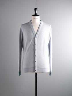 JOHN SMEDLEY | BACKWELL Bardot Grey ウール配色カーディガンの商品画像