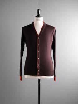 JOHN SMEDLEY | BACKWELL Chestnut ウール配色カーディガンの商品画像