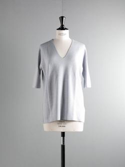 JOHN SMEDLEY | PURCELL Bardot Grey ウール5分袖シームレスニットの商品画像