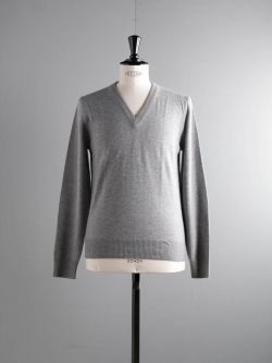 MAISON MARGIELA | WOOL SWEATER WITH ELBOW PATCHES Grey エルボーパッチウールVネックニット