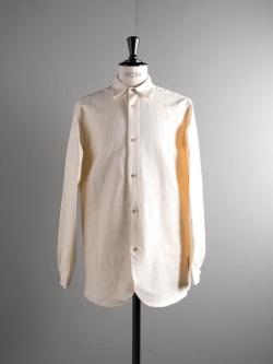 FRANK LEDER | VINTAGE BLUE STRIPE BEDSHEET OLD STYLE SHIRT + POCKET 80S ストライプ入りベッドリネンハンドポケット付きシャツの商品画像