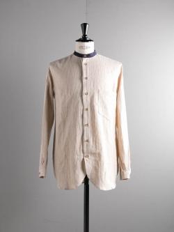 FRANK LEDER | STRIPED LINEN STAND COLLAR SHIRT 83 ストライプリネンシャツの商品画像