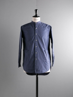 YARMO | BAND COLLAR SHIRT COTTON CAMBRIC French Blue バンドカラーシャツの商品画像