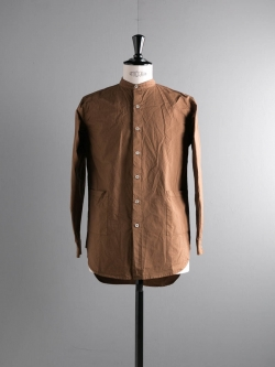 YARMO | BAND COLLAR SHIRT COTTON CAMBRIC Tan バンドカラーシャツの商品画像
