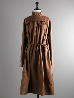 BACK OPEN SMOCK DRESS COTTON CAMBRIC Tan