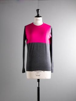 JOHN SMEDLEY | HADID Charcoal/Renzo Pink ウールコットンバイカラーニットの商品画像