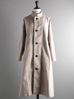 YARMO | STAND COLLAR WIDE COAT BRITISH MOLESKIN Stone スタンドカラーワイドコートの商品画像