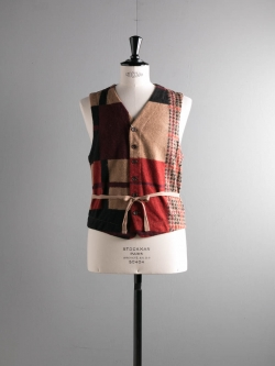 ENGINEERED GARMENTS | KNIT VEST – GUN CLUB MULTI CHECK KNIT Tan/Black ニットベストの商品画像