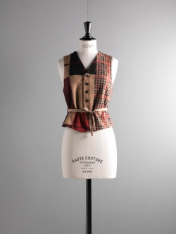 FWK by ENGINEERED GARMENTS | KNIT VEST – GUN CLUB MULTI CHECK KNIT Tan/Black ニットベストの商品画像