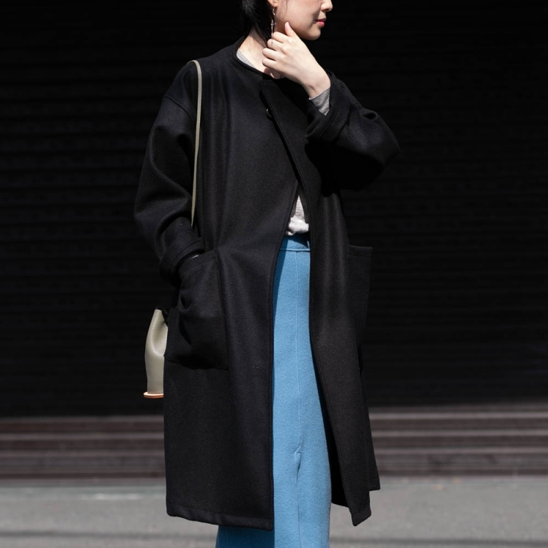 ヤーモのMelton Wrap CoatのBlack