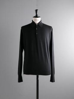 JOHN SMEDLEY | DORSET Black ウールニットポロシャツの商品画像