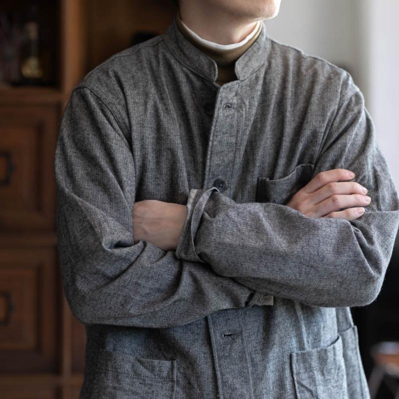 エンジニアドガーメンツのコットンヘリンボーンのデイトンシャツ