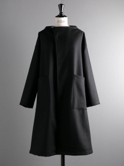 YARMO | MELTON WRAP COAT Black メルトンラップコート
